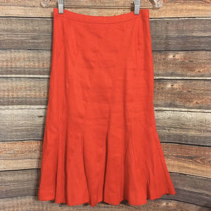 J.crew red linen blend fluted skirt
